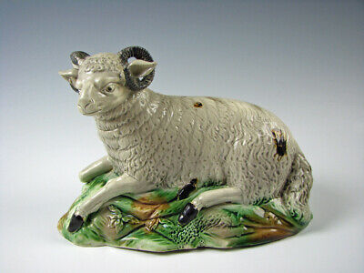 Antique 18th Century Whieldon Glaze Recumbant Ram Sheep Figurine Staffordshire