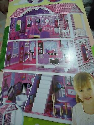 Girls Manor doll house 3storey wooden pink & purple ELC Mothercare brand new **