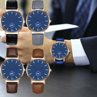Mens Leather Strap Military Casual Analog Quartz Wrist Watch Business Watches VU