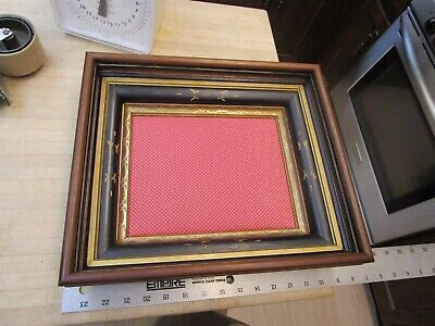 Stunning Antique Victorian Deep Walnut Shadowbox Wood Gilt Picture Frame