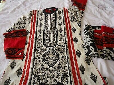 used once Original origins embroidered khaadi gul ahmed long Kurta kameez M