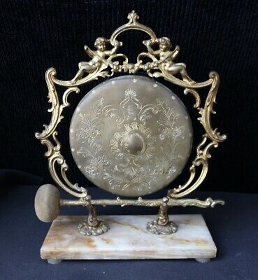 Victorian Dinner Chime Putti Elaborate Etching, Aesthetic Hammer, Marble Base