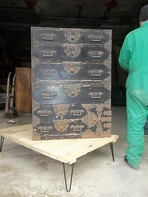 Large Antique 19Th Century Japanese Black Lacquered Cherry Wood 2 Piece Tansu