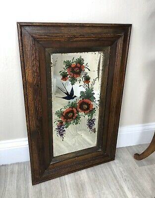 Antique Victorian Hand Painted Mirror, Bevelled Edges, Romany Gypsy O33