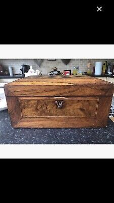 19th Century, Victorian Burr Walnut & Rosewood Inlaid Needlework Box