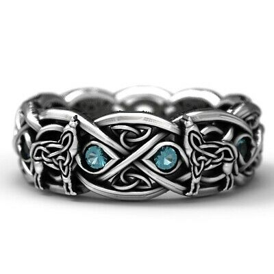 925 Silver Celtic Wolf Ring Eternity Band Sapphire Wedding Jewelry Rings Gift