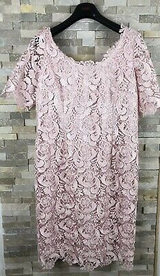 Jacques Vert Ladies Size 16 UK Brush On Pink Crochet Lace Mother Of Bride Dress