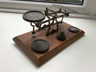 Victorian Brass Postal Scales And Weights On Oak Base