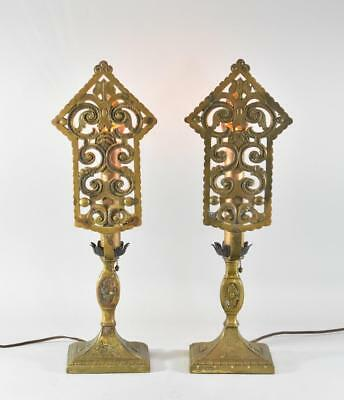 Antique Pair Art Deco Brass Scroll Openwork Mantle / Buffet Lamps