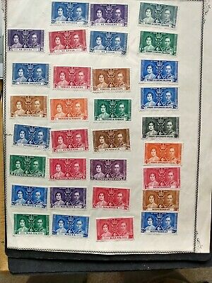 British Colony- unused stamps K. GeorgeVI 1937(Stamps stuck to paper Sold as is)