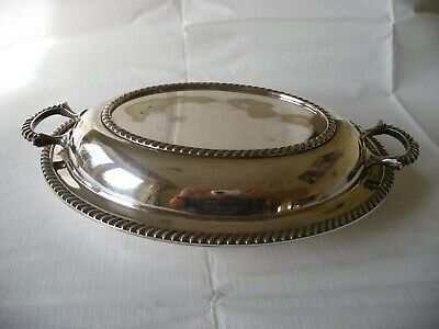 Antique Epns Silver Plated On Copper Twin Handle Serving Dish Tray