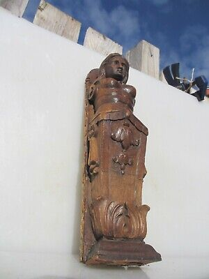 Victorian Carved Wood Furniture Mount Lady Antique French Wooden Old Georgian