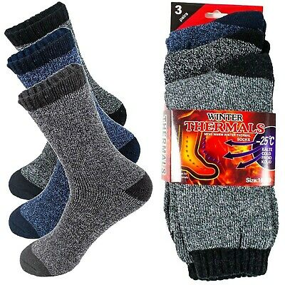 3 Pairs Mens Winter Thermal Heated Warm Socks Heavy Duty Boots Sox Size 10-13