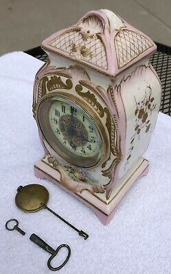 1900's Antique French Porcelain Mantel Desk Shelf Clock Working  Time Only