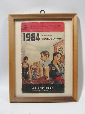 Midcentury Framed Signet 1984 George Orwell Book Cover #798 25 cents
