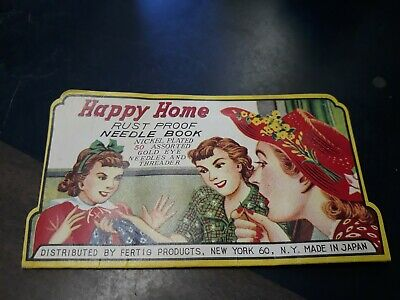 Vintage Happy Home Rust Proof Needle Book with Threader and original sleeve. OS