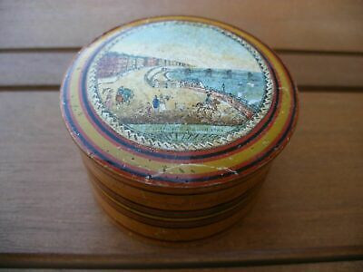 Chain Pier Brighton Antique Late Georgian Victorian Treen Snuff Trinket Pot Box
