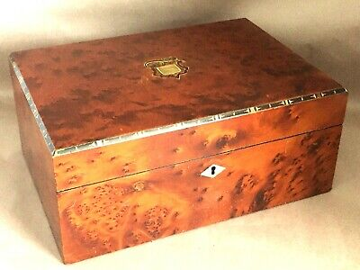 Antique Birdseye Brass & MOP Inlay Writing Slope Lap Desk Box