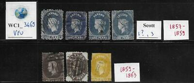 WC1_3469 BRITISH COLONIES. CEYLON. Study lot of 1857-1863 rare stamps. Used