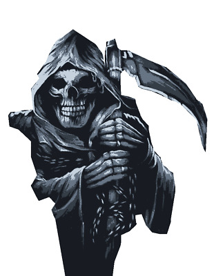 Multilayer STEP BY STEP airbrush stencil GRIM REAPER 2 / 10 x 6
