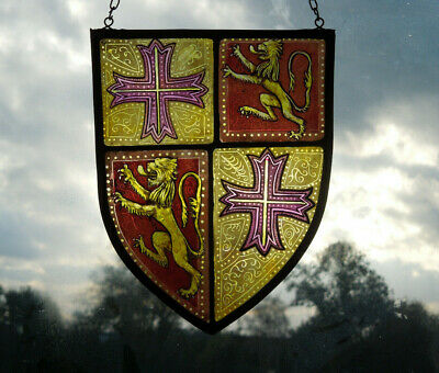 Interesting Stained Glass Heraldry Crest Coat Of Arms Medieval Victorian