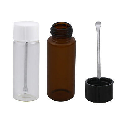 Transparent brown small glass bottle with snuff spoon pill box sniffer bottWTUS