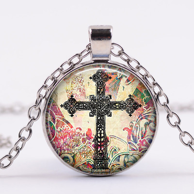 Antique Cross art Cabochon Tibetan silver Glass Chain Pendant Necklace Jewelry