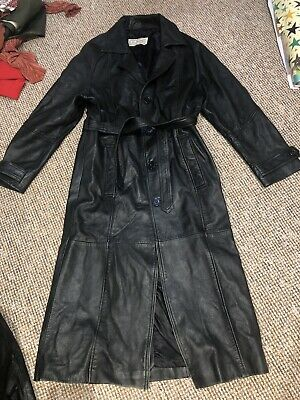 """Mens Vintage Black Genuine Real Leather Long Trench Belted Coat Mac 70s M 40"""""""
