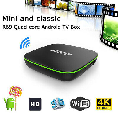 R69 Smart Home TV Box  Quad Core 2.4GHZ WiFi HDMI 1080P Android 7.1 Media Player