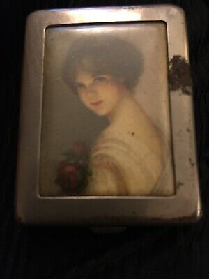 Antique Metal Match Case With Picture Of Very Beautiful Woman