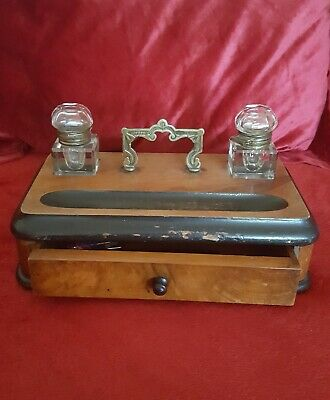 Antique wooden Desk Tidy, Stationary Box, With Ink Wells