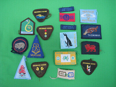 bulk LOT vintage GIRL GUIDES patches 1980s TASMANIA girl guides