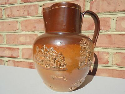 Antique Early Doulton Burslem 2-Tone Brown Stoneware Fox Hunt Water Pitcher Jug