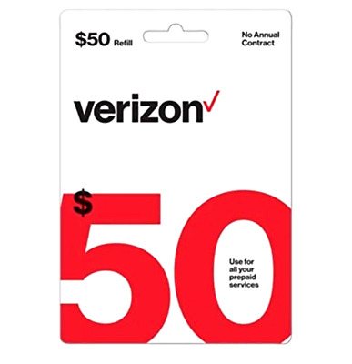 $50 Verizon Wireless Prepaid Refill Card