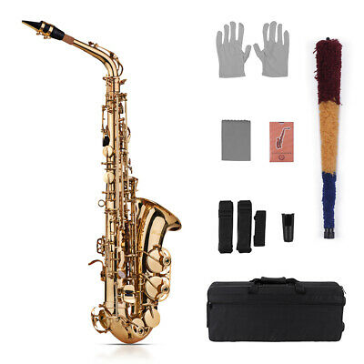 Professional Band Eb Alto Sax Saxophone Paint Gold with Case & Accessories A8V5