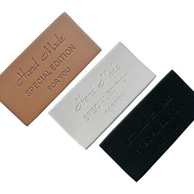 10 Pcs Rectangle Handmade Labels Clothes Garment PU Leather Tags DIY for Sewing