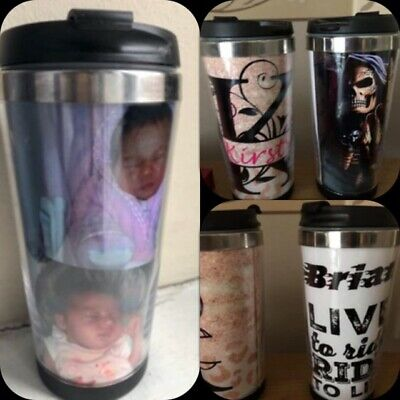 Personalised Custom Photo Gift Thermal Mug Coffee Tea Travel Flask Cup.