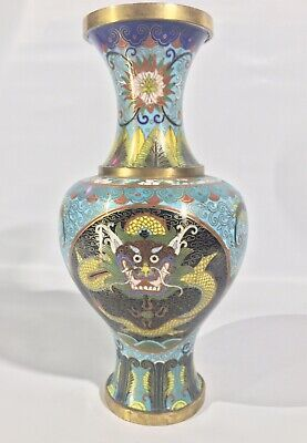 Antique Chinese Cloisonné Five Claw Dragon Late Qing Dynasty Vase