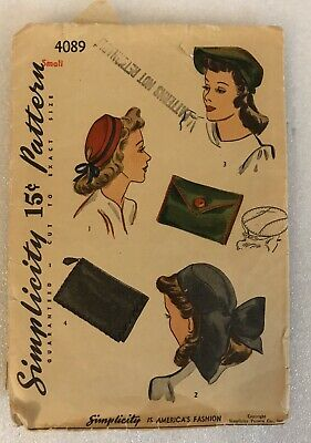 1940s Vintage Simplicity Sewing Pattern 4089 HATS & BAG Used Original
