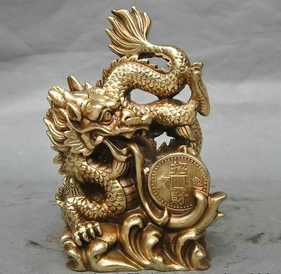 "7"" Old Chinese Fengshui Brass Wealth money Success Zodiac Dragon beast Statue RN"