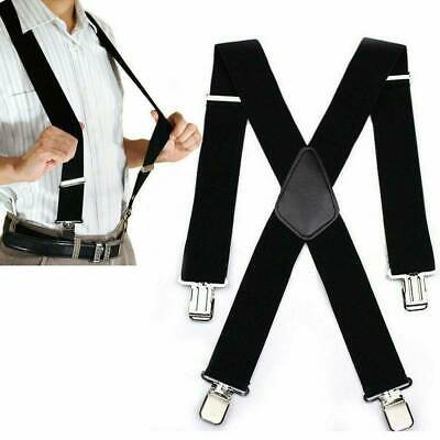 Womens Mens Elastic Suspenders Black Adjustable Braces X-Back Leather Clip-on