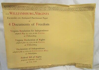 4 Antiqued Parchment Paper Bill of Rights, Constitution, Gettysburg, Declaration