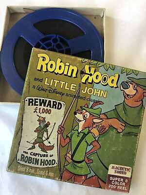 Vintage Super 8 Sound Color 200 Reel Robin Hood & Little John Walt Disney Movie