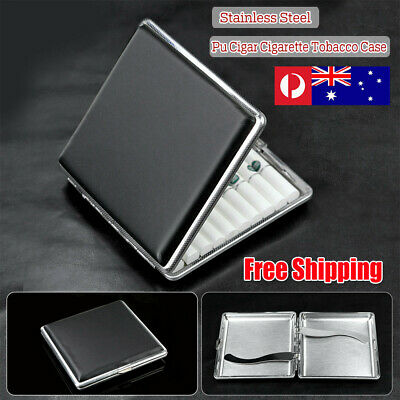 Stainless Steel Cigarette Case Cigar Tobacco Pocket PU Leather Pouch Holder Box