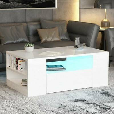 High Gloss White / Black LED Coffee Table with 1/2 Drawers Living Room Furniture