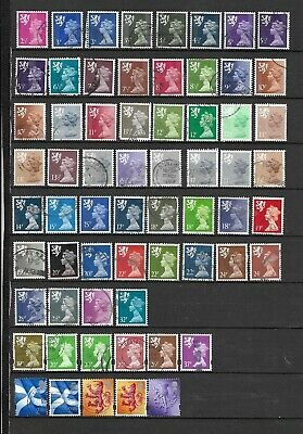 1971 Qeii Regionals Scotland Excellent Selection Of 54 Vfu Different Stamps
