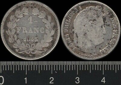 France: 1843 1 Franc King Philippe I 1 Fr silver