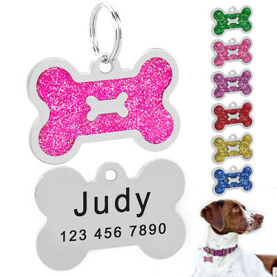 Glitter Bone Personalised Dog Tags Disc Customised Cat Pet ID Name Tag Engraved