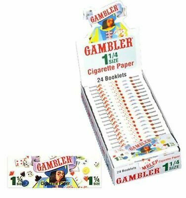 Gambler 1 1/4 1.25 Rolling Papers - Box 24 PACKS - Cigarette Tobacco Smoke