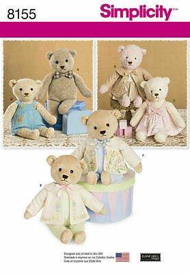 Simplicity Sewing Pattern 8155 Soft Toy Teddy Bear & Outfits